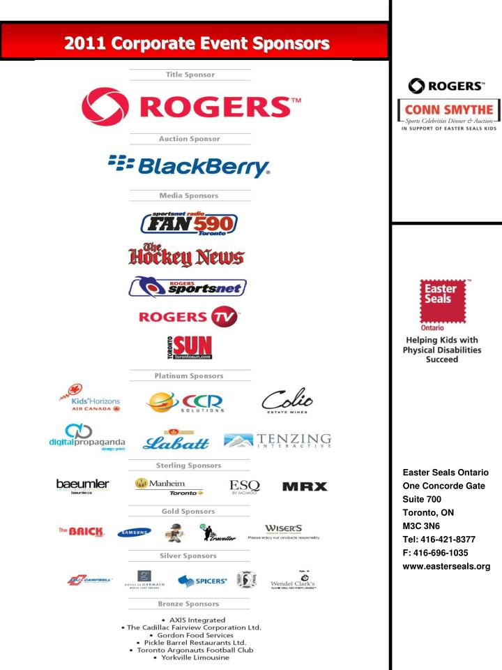2011 Corporate Event Sponsors