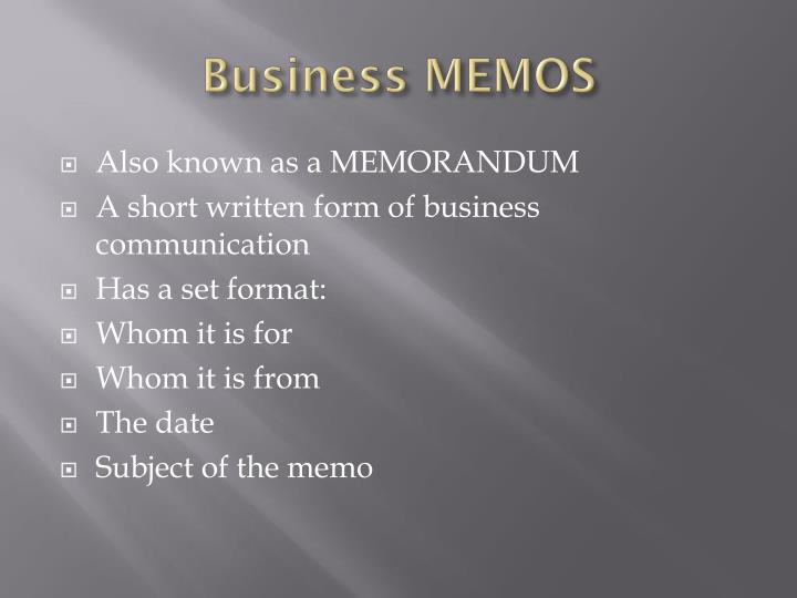 Business MEMOS