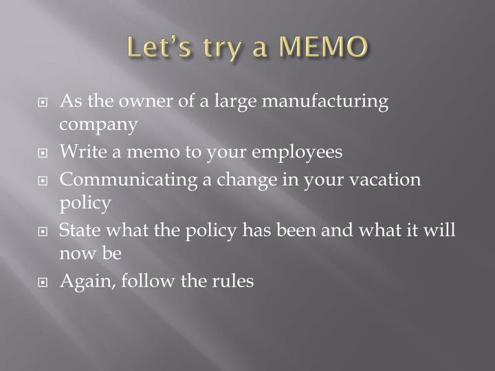 Let's try a MEMO