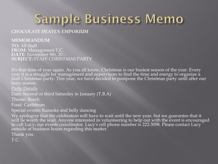 Sample Business Memo