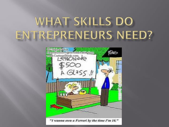 What skills do entrepreneurs need