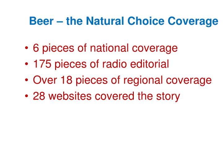 Beer – the Natural Choice Coverage