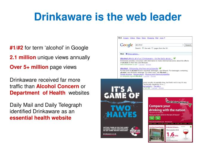 Drinkaware is the web leader