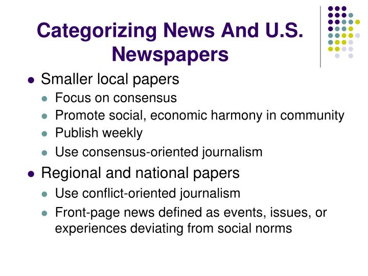 Categorizing News And U.S. Newspapers