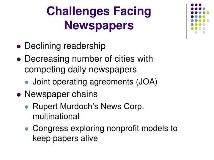 Challenges Facing Newspapers