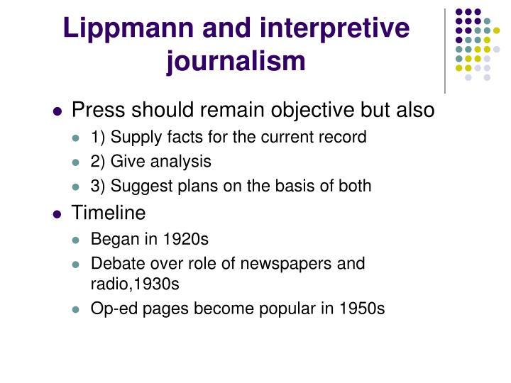 Lippmann and interpretive journalism