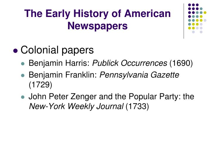 The Early History of American Newspapers