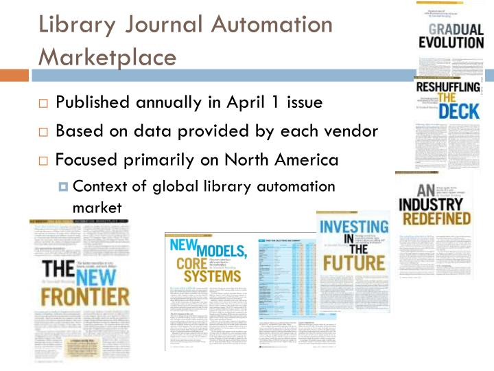 Library journal automation marketplace