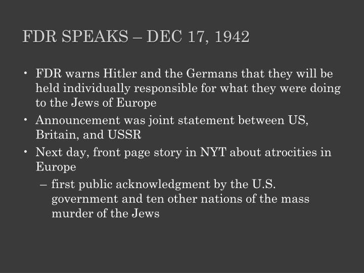 FDR Speaks – Dec 17, 1942