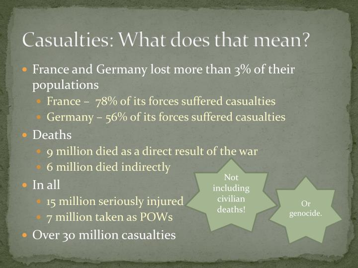 Casualties what does that mean