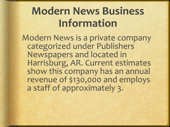 Modern News Business Information