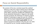 focus on social responsibility