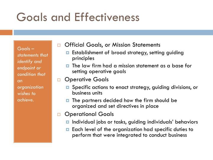 Goals and Effectiveness