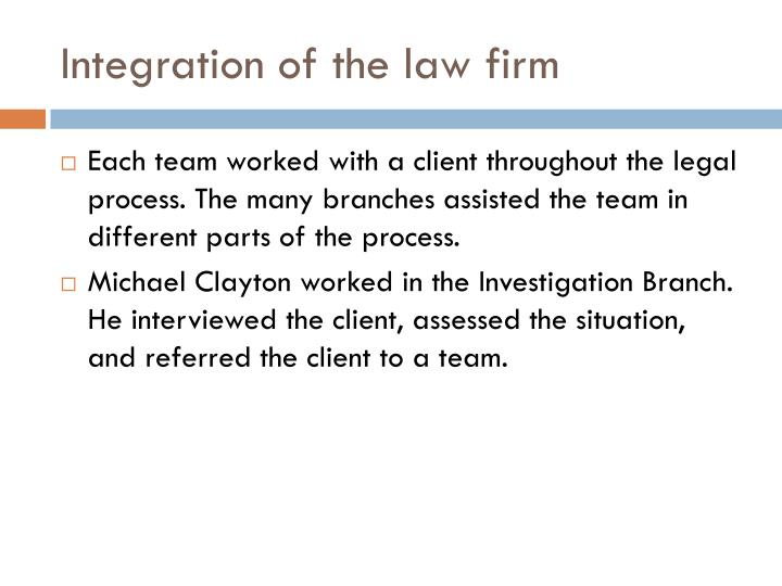 Integration of the law firm