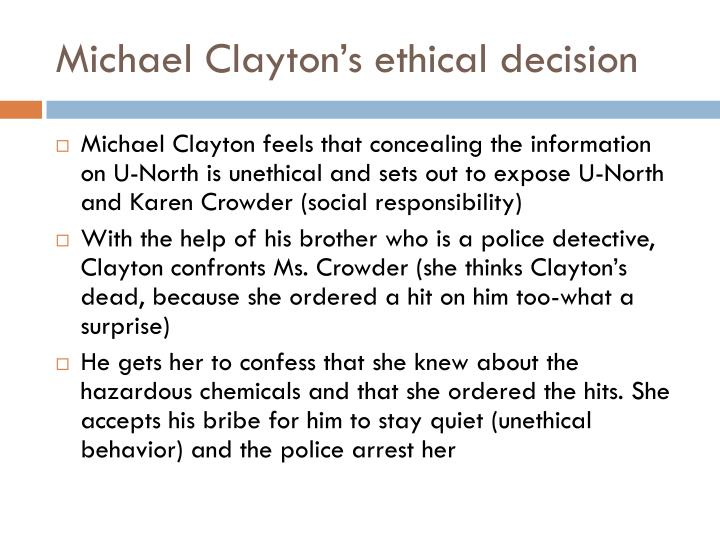 Michael Clayton's ethical decision