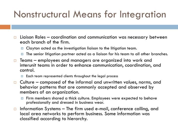 Nonstructural Means for Integration