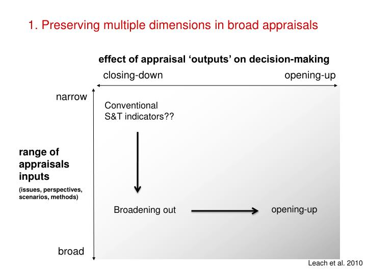 1. Preserving multiple dimensions in broad appraisals