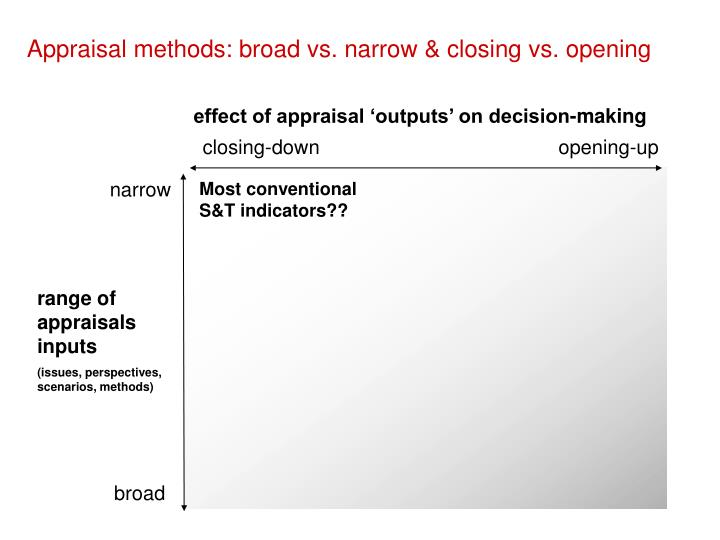 Appraisal methods: broad vs. narrow & closing vs. opening