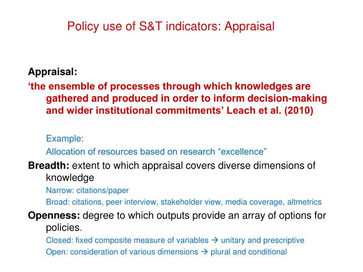 Policy use of S&T indicators: Appraisal