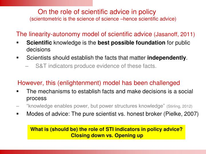 On the role of scientific advice in policy