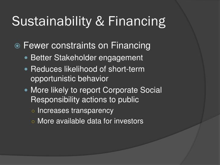 Sustainability & Financing