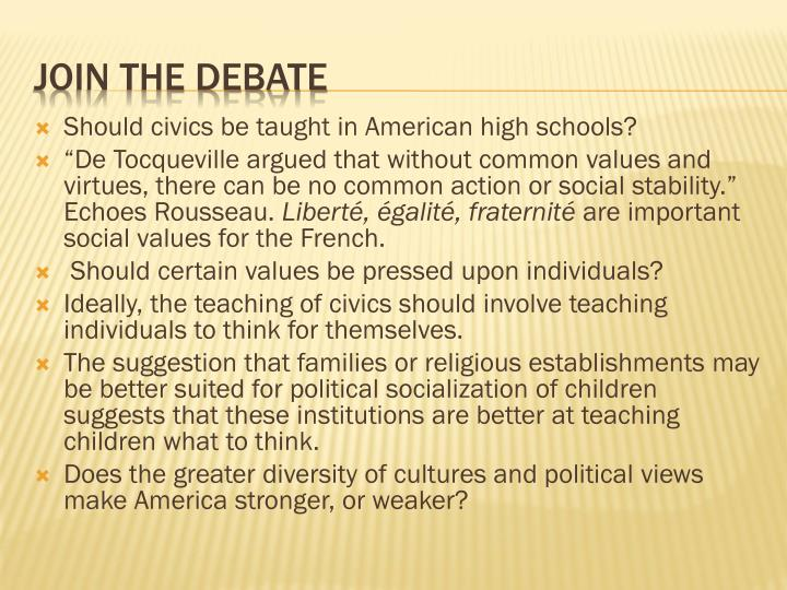 Should civics be taught in American high schools?