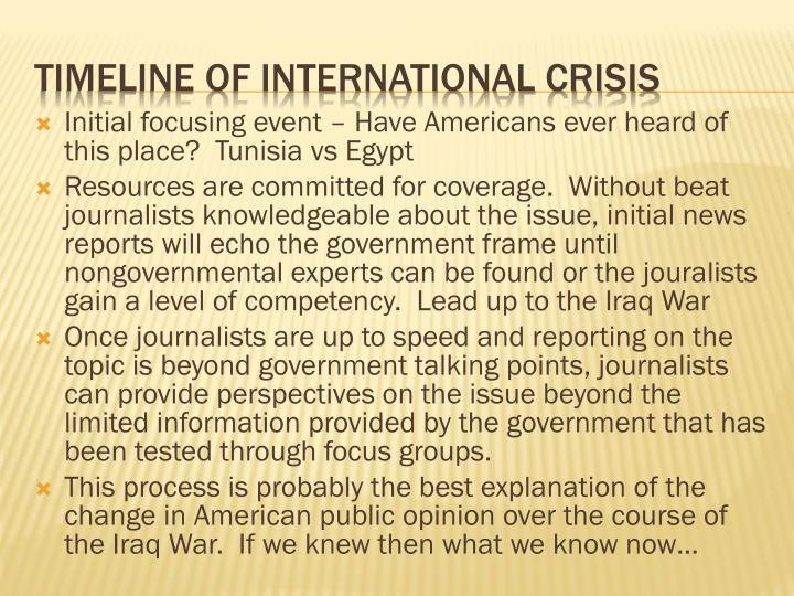 Initial focusing event – Have Americans ever heard of this place?  Tunisia