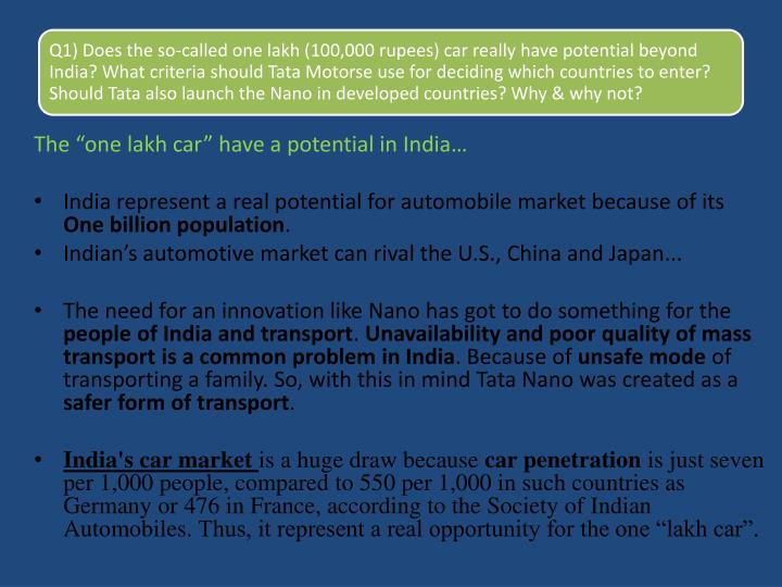"The ""one lakh car"" have a potential in India…"