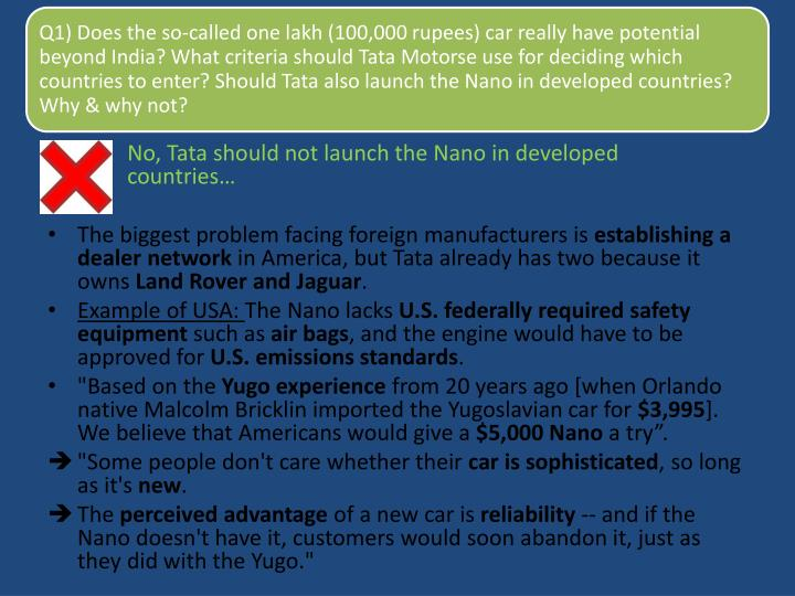 No, Tata should not launch the Nano in developed countries…
