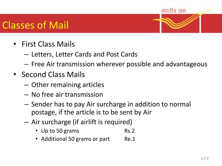 Classes of Mail