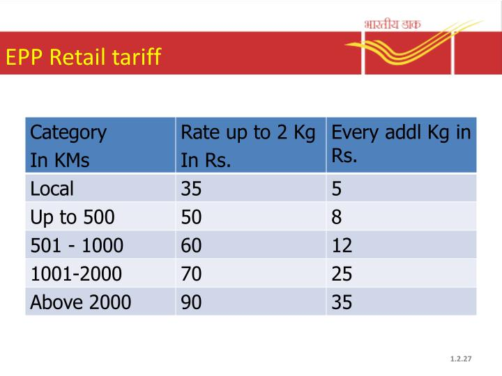 EPP Retail tariff