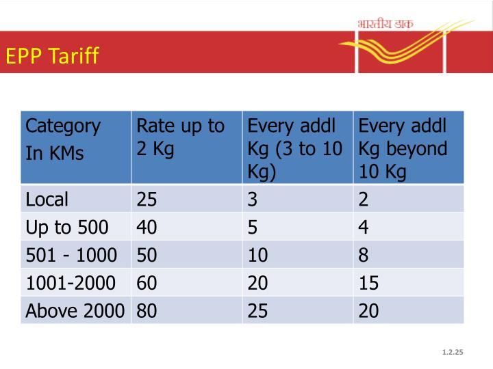 EPP Tariff