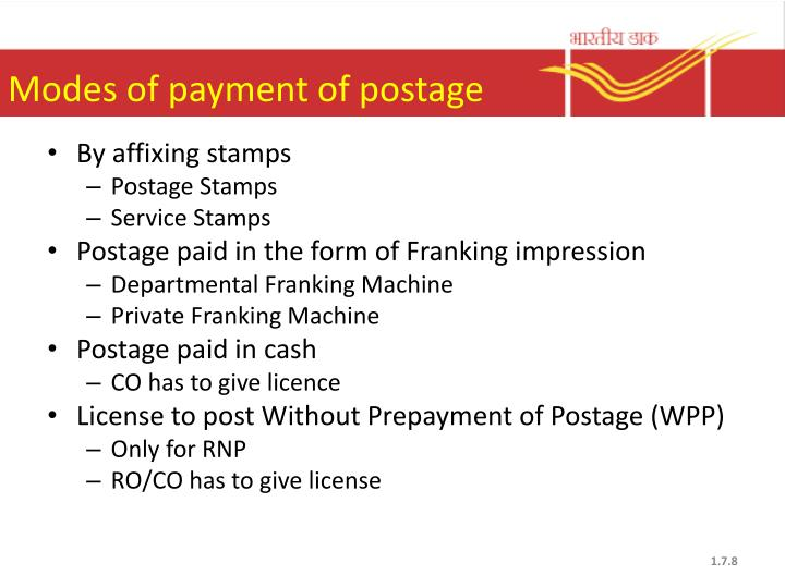 Modes of payment of postage