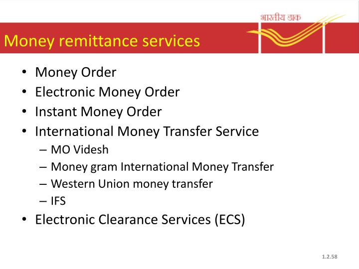 Money remittance services