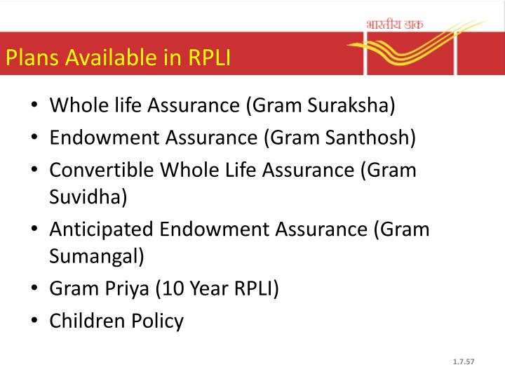 Plans Available in RPLI