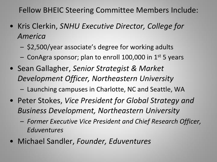 Fellow BHEIC Steering Committee Members Include: