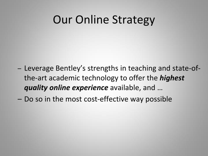 Our Online Strateg