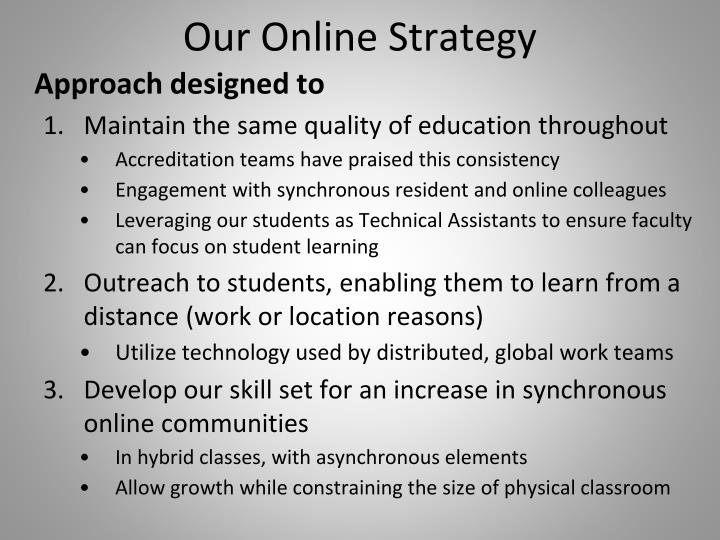 Our Online Strategy