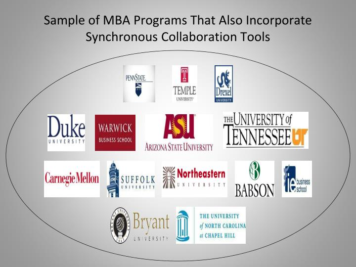 Sample of MBA Programs That Also Incorporate Synchronous