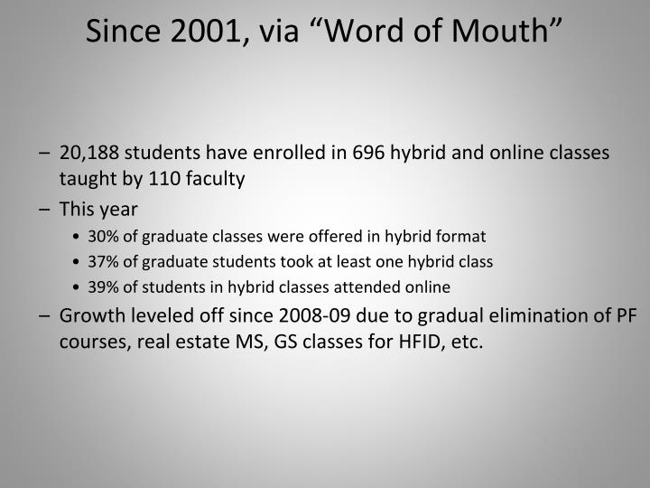 "Since 2001, via ""Word of Mouth"""