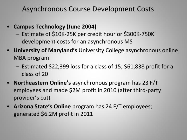 Asynchronous Course Development Costs