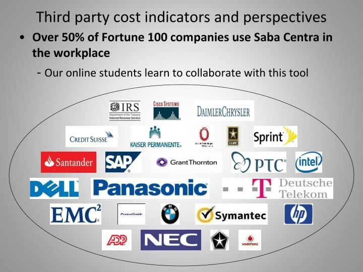 Third party cost indicators and perspectives