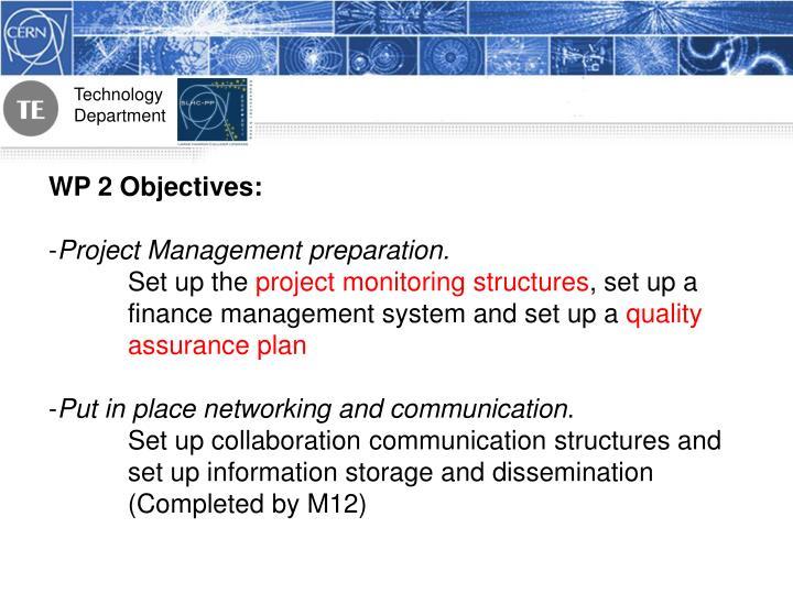 WP 2 Objectives: