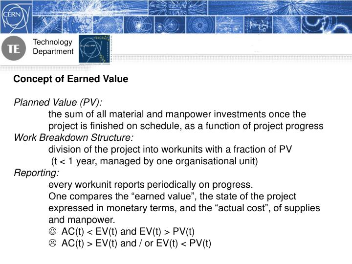 Concept of Earned Value