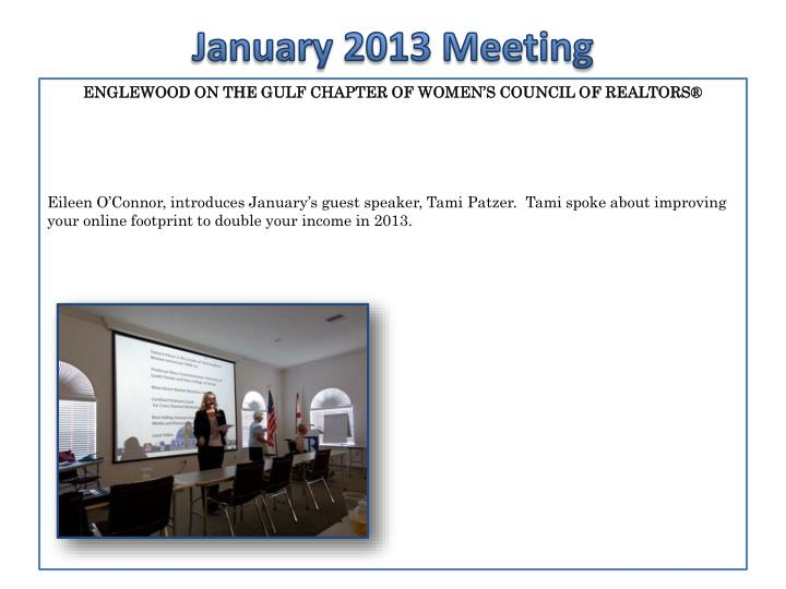 January 2013 meeting