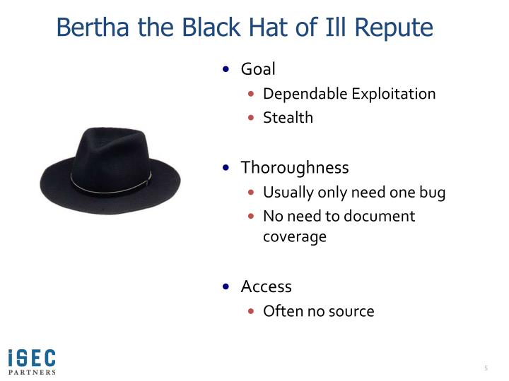 Bertha the Black Hat of Ill Repute