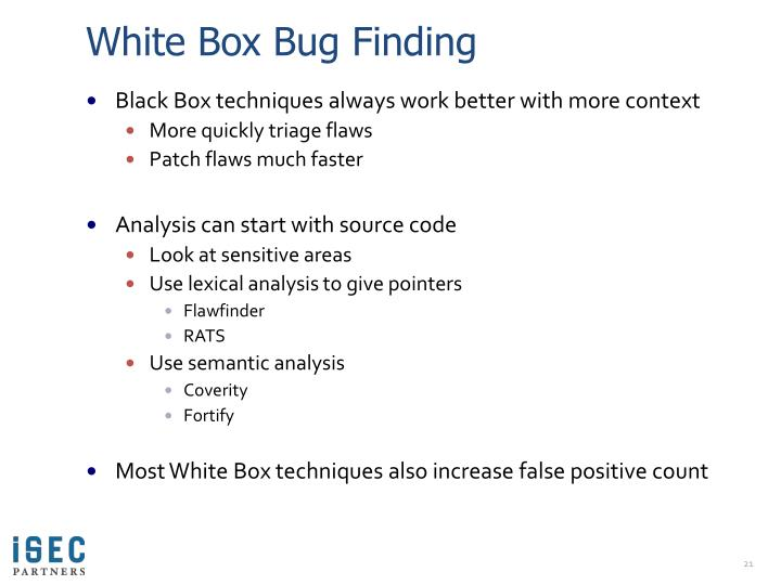 White Box Bug Finding