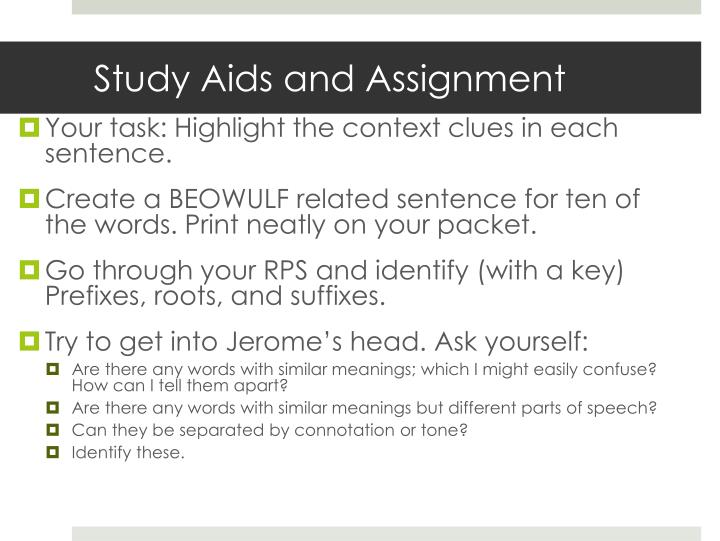 Study Aids and Assignment