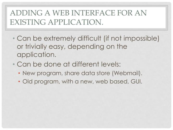 Adding a Web Interface for an