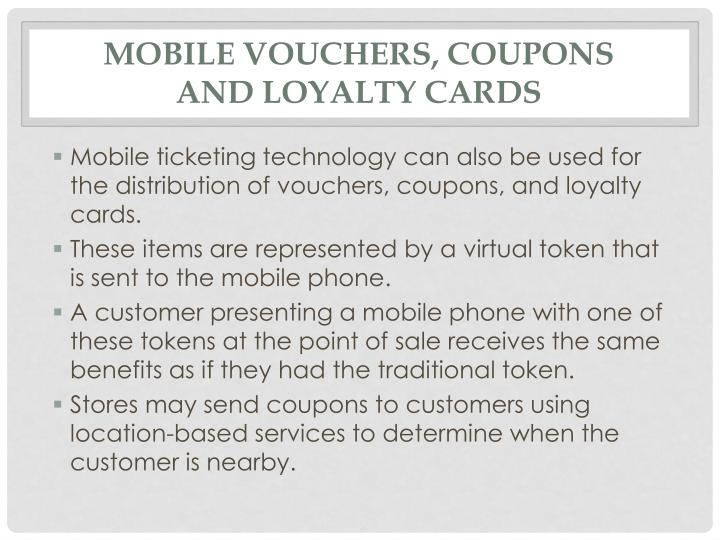 Mobile vouchers, coupons